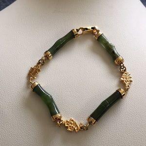 Jewelry - Green jade bamboo 12k GF vermeil bracelet